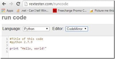 http://rextester.com/runcode