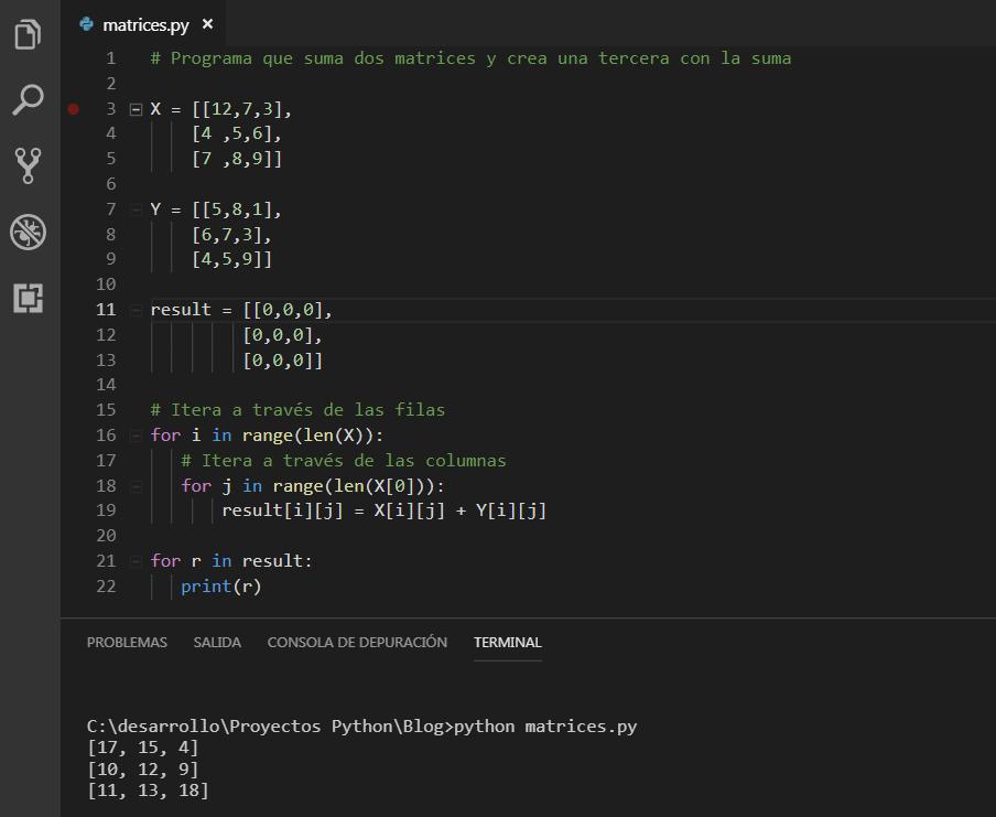 Suma de matrices Python
