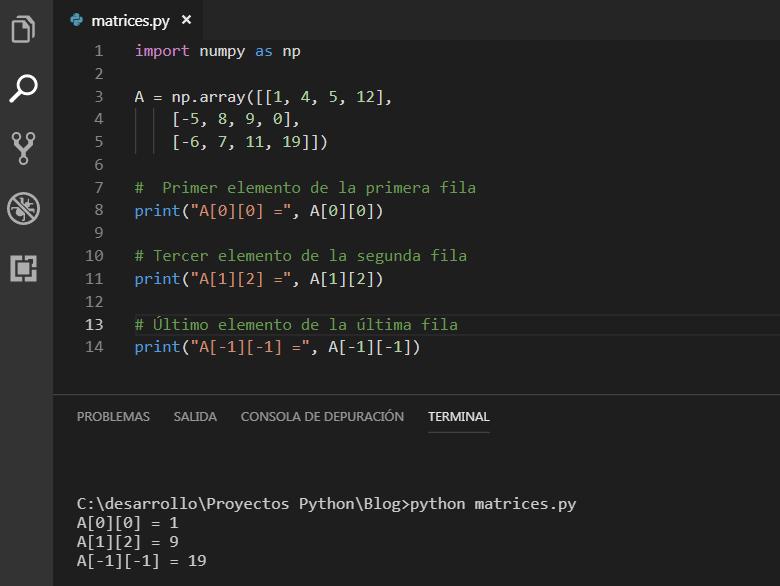 Acceder a los elementos de una matriz bidirecciona NumPy