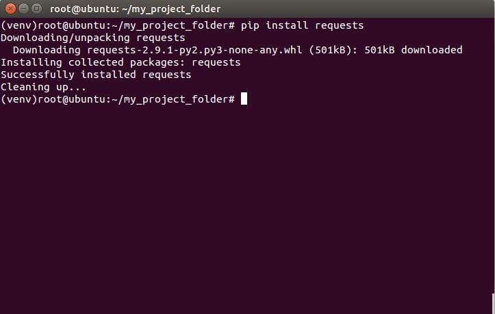 Instalando el paquete requests en el entorno virtual