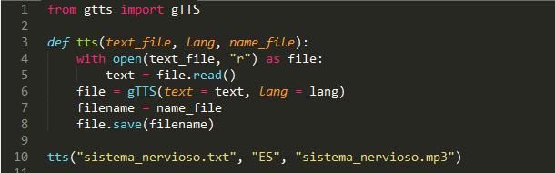 código para transformar texto a vos con python