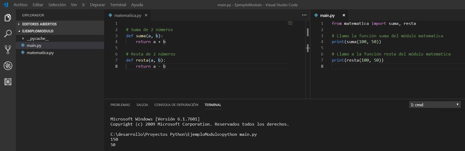 Ejemplo de módulos en python