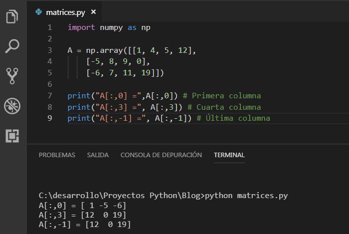 Accediendo a las columnas de una matriz NumPy