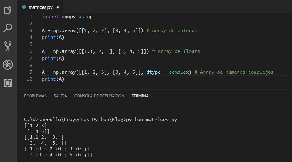 Como crear un Array en NumPy