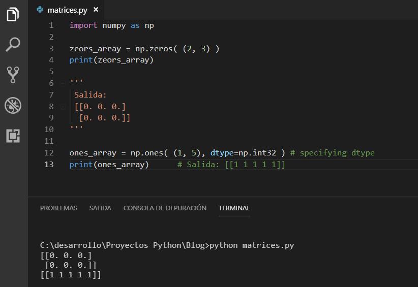 Array de ceros y unos Python