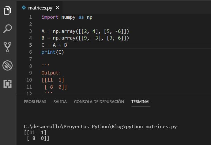 Sumar matrices con Numpy