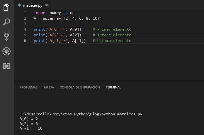acceder a los elementos de una matriz con NumPy