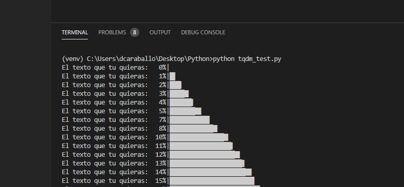 Ejemplo utilizando ncols en python y tqdm