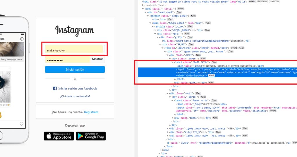Inspeccionando elemento de nombre de usuario - Login en Instagram con Python