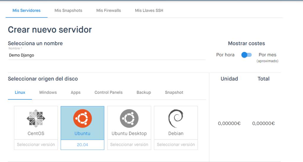 Instalar y configurar Django en Clouding - Crear un nuevo servidor